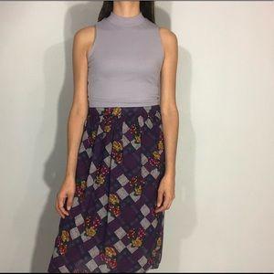 1980s floral & plaid skirt